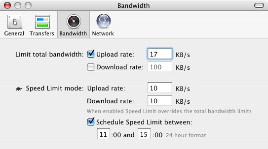 Transmission Bandwidth Preferences