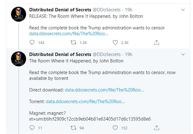 tweets about the john bolton book release