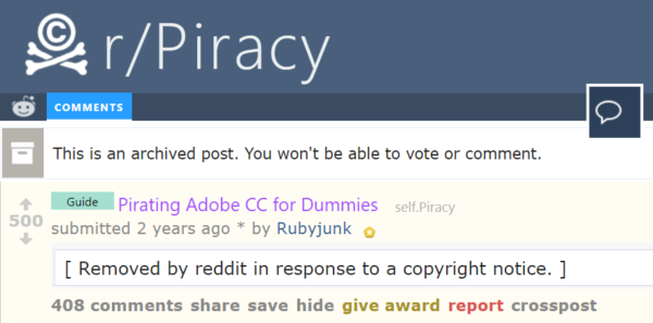 Adobe Piracy Tutorial Takedown Upsets Reddit's Piracy Sub - TorrentFreak