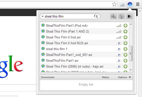 A single click on one of the green arrows will download a .torrent file and start the transfer of the chosen material straightaway, dumping the contents
