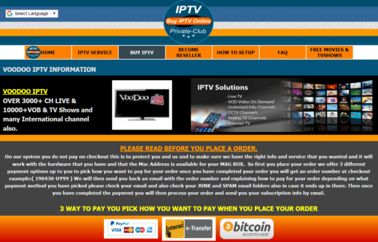 Voodoo IPTV subscription