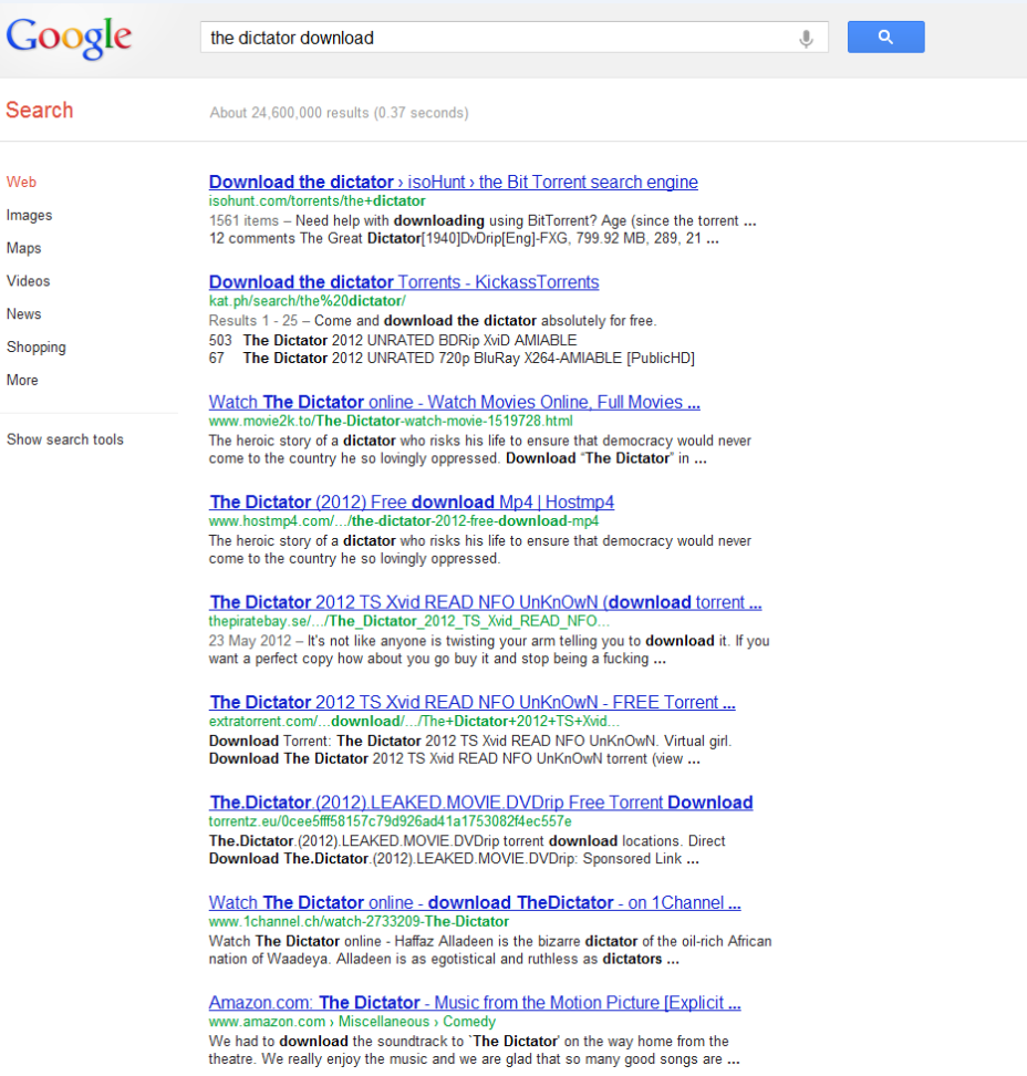 Pirate Bay and isoHunt Respond to Google Search Result
