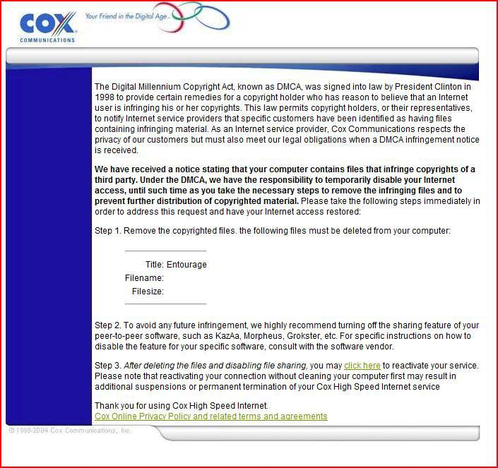 Cox Targets Pirates With 10 Strikes Program Torrentfreak