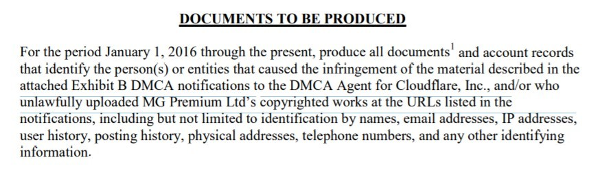MG premium DMCA subpoena