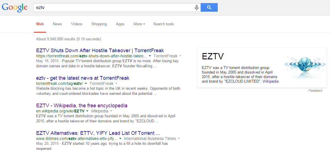EZTV Disappears From Google After Hostile Takeover