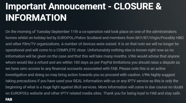 FAB IPTV Says it Has Shut Down Following Europol-led Raid - TorrentFreak