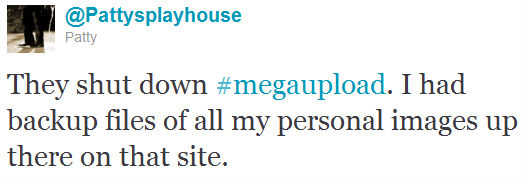 megaupload user complaining about losing access to personal files on twitter