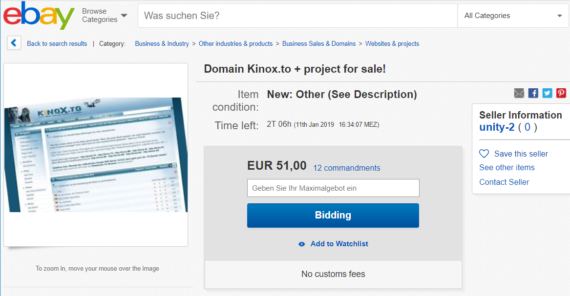 Controversial Streaming Site Kinox Offered For Sale on eBay