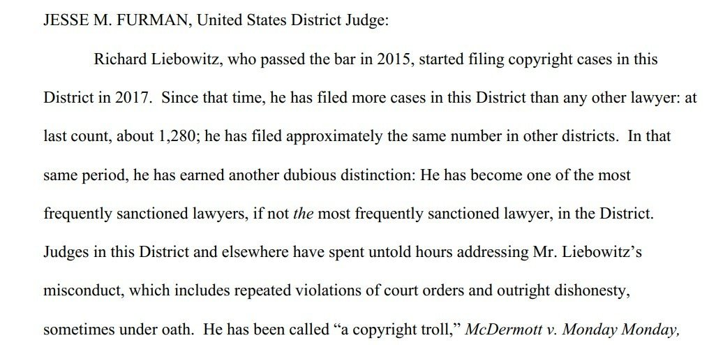 Judge Furman order sanctions against Richard Liebowitz