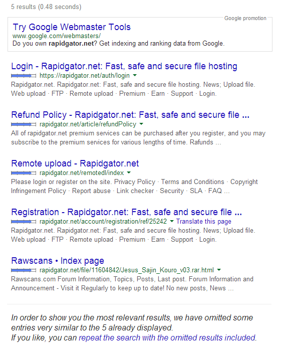 Rapidgator Wiped From Google's Search Results, Again
