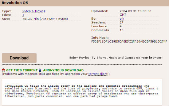 "One of Pirate Bay's Oldest Torrent is ""Revolution OS ..."