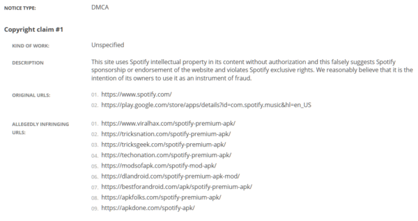 Spotify DMCA complaint to Google