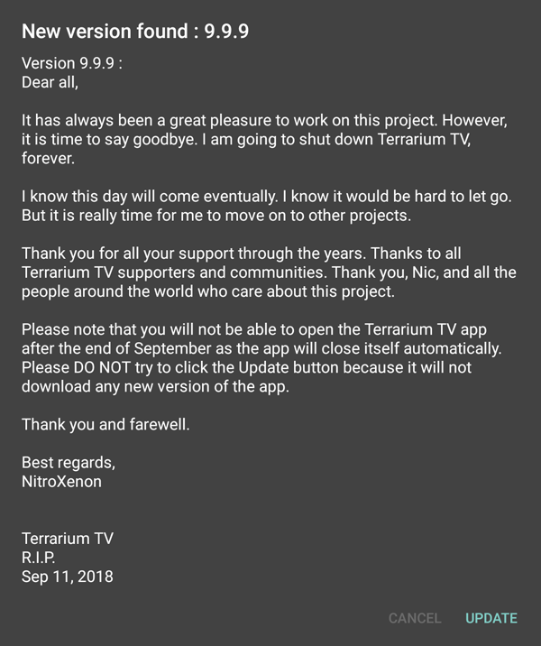 Terrarium TV is shutting down for good.