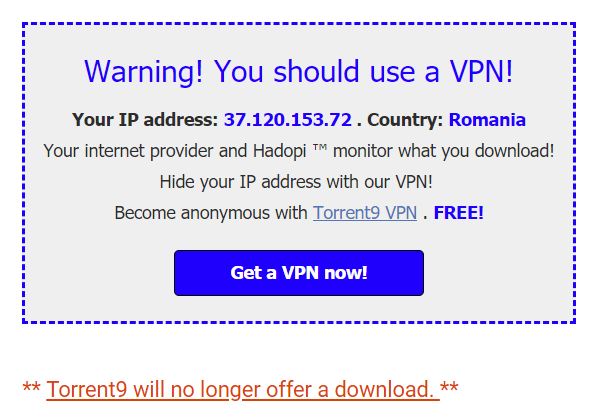 Torrent9's Disappearing Downloads Boosted VPN 'Referrals