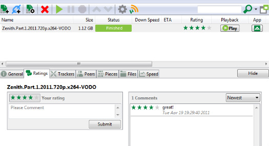 utorrent comments ratings