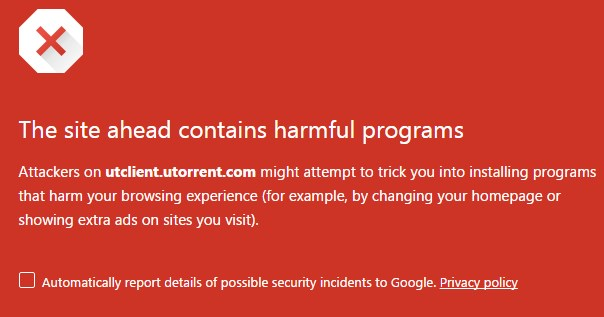 uTorrent flagged as harmful and malicious by top AV firms while Google Safe Browsing blocks its website.