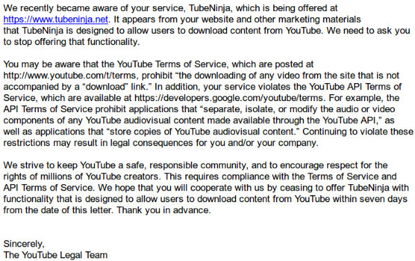 YouTube Threatens Legal Action Against Video Downloader (Update